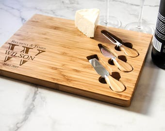 Personalized cheese board set, Custom cheese board set, Engraved cutting board, Wedding gifts, Gifts for the couple