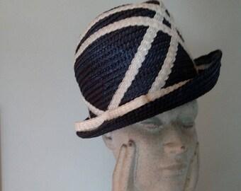 Vintage Angel Designs Upturned Brim Navy Blue Waffle Straw Ladies Trilby/Fedora/ White Straw Lace Embellishment