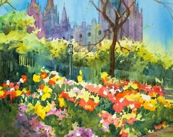 LDS Salt Lake Temple Painting, Salt Lake Temple Watercolor Painting, Temple Square Watercolor, Spring Watercolor Painting