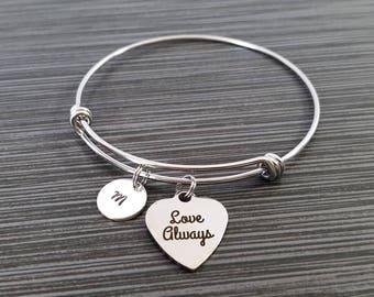 Love Always Bangle - Love Always Bracelet - Expandable Charm Bracelet - Initial Bracelet - Gift for Mom - Mother Bracelet - Best Friend Gift