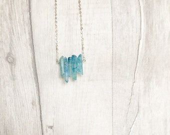 Aqua Aura Quartz - Crystal Necklace Pendant - Raw Crystal Jewelry - Statement Necklace - Bohemian Accessories - Bridesmaid Thank You Gift
