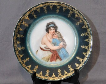 Vintage Portrait Plate, Victorian Collector Plate, Cameo Plate, Madame Lebrun