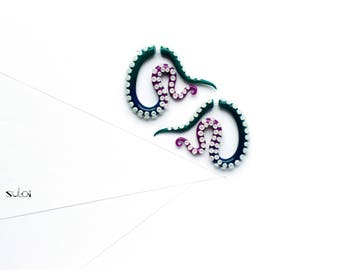 Tentacle fake gauge earrings green and purple fake plugs fake gauges octopus earrings