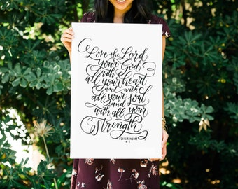 Love The Lord FREE SHIPPING Handlettered Modern Calligraphy Canvas Deuteronomy 6:5 Bible Verse Canvas Wall Art, Digital Download INCLUDED