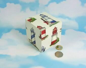Lighthouse Money Box, Gift for Dad, Nautical Box, Money Box, Lighthouse theme, Savings Pot, Birthday gifts, Christmas Gift, Gift for Mum