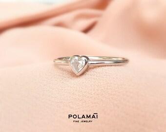 Heart Cut Diamond Ring 0.10 to 0.30 ctw 18k Yellow Rose White Gold . Engagement Stacking Love Ring . Polamai