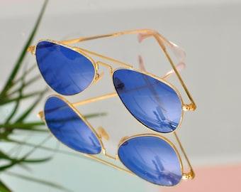 c. 1970s Blue Aviator Sunglasses w//Gold Trim - Military Issue?