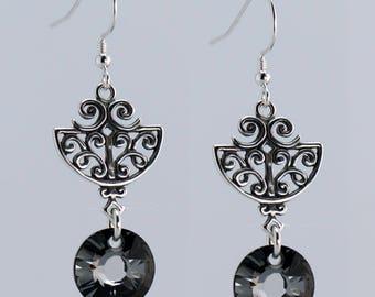 Silver Scroll Drop Earring - E2776