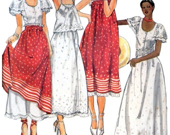 70s Butterick 5387 Gil Aimbez Peasant Halter Top, Blouse and Skirt or Dress, Uncut, Factory Folded, Sewing Pattern Size 10