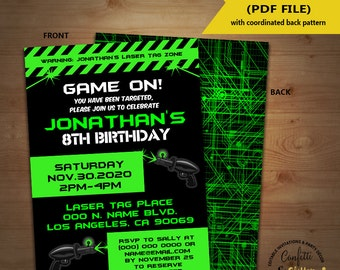 Laser Tag Birthday party invitation game on laser tag invite lazer tag party invite YOU EDIT TEXT and print yourself invite 5584