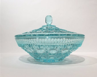 Windsor Candy Bowl, Teal Glass Bowl with Lid, Blue Glass Bowl Button and Cane Design, Blue Glass Fruit Bowl, Indiana Glass Teal Windsor Bowl