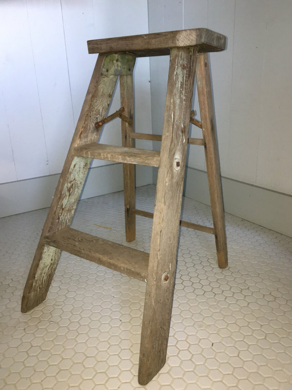 Vintage Antique Wooden Step Ladder