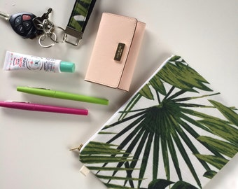 Tropical Zipper Pouch, Palm Leaves Pouch, Purse Organizer, Tropical Makeup Bag, Cosmetic Bag, Bridesmaid Gifts, Hawaii Wedding Party Gift