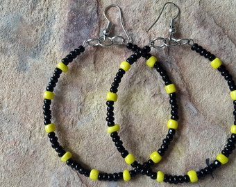 Beaded handmade simple African stylish fashion modern trendy elegant dance party prom spring yellow black  big hoop earrings      earrings