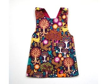 Cross back child apron dress 2 to 4 years old with flowers  fawn