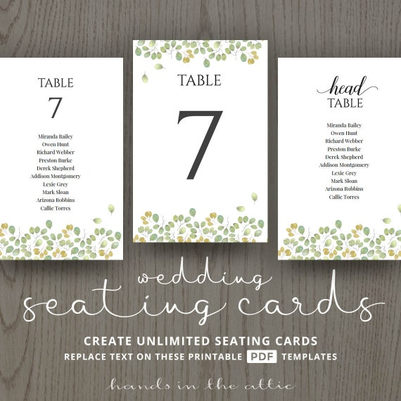 leaves wedding table name cards guest list printable number cards table template plant. Black Bedroom Furniture Sets. Home Design Ideas