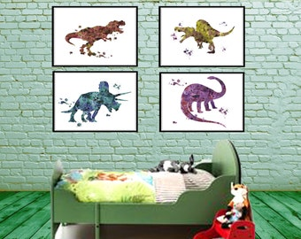 Dinosaur, Dinosaur, Watercolor, Animal Art, Dinosaur Wall Art, Set Of 4 Part 56