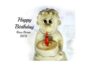 Russ Berry figurine - Happy Birthday  - R & W Berries - vintage Russ Berrie -  # 99