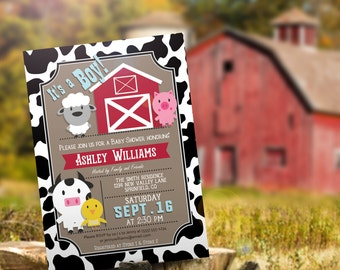 Farm Animals Baby Shower Invitation - Personalized Printable DIGITAL FILE
