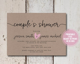 Couple's Shower Invitation Printable, Rustic Co-ed Bridal Shower Invites, Brown Paper Invites, Couples Bridal Shower Invitation, Download