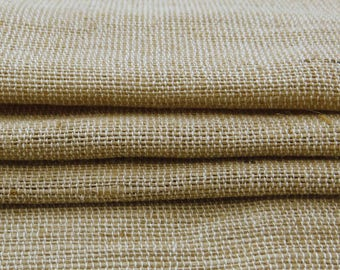 "Natural Fabric, Beige Burlap, Rustic Fabric, Sewing Crafts, Upholstery Fabric, Beige Jute Fabric, 59"" Inch Burlap Fabric By The Yard ZJC17A"