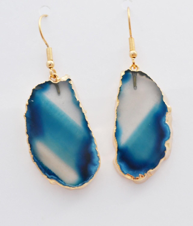 aqua blue agate earrings earrings by