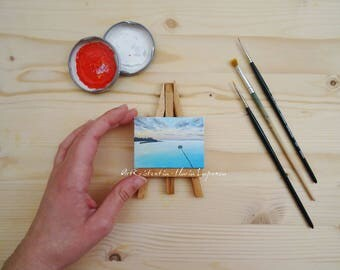 Mini canvas with easel sunset overhead shower, original, hand-painted acrylic on canvas 5 x 7 cm