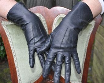 Black vintage ladies leather gloves, longer cuff