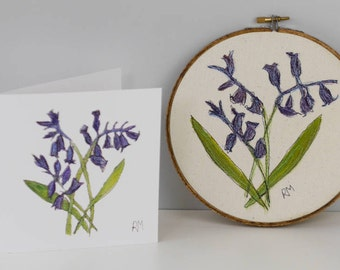 Bluebells Embroidered in Hoop with Matching Card