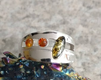 Authentic Baltic Amber Ring Size 11