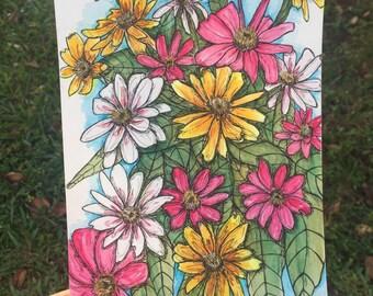 Wildflowers Original Drawing