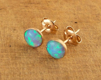Opal Stud Earrings in 14K Gold filled / Handmade Jewelry / Bridesmaid gift / Dainty Earrings / Gift For Her