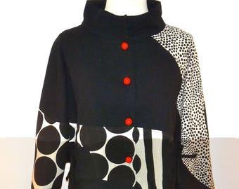 Unique Black & White Asian Inspired Cotton Jacket - SP16-5626