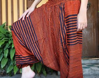 Harem Pants Hippie Clothing Drop Crotch Style Orange Stripe