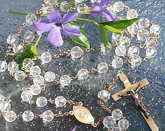 Vintage Gold Filled Crystal Rosary Vintage GF Crystal Rosary