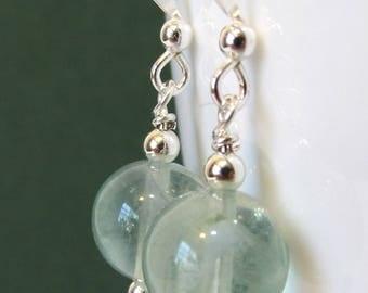 Pale Green Fluorite Earrings with Sterling Silver, Simple Dangle Earrings, Natural Semi Precious Stone Jewelry, Handmade Drop Earrings