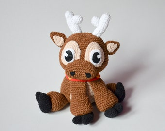 Crochet PATTERN No 1640 - Christmas Reindeer pattern by Krawka, Rudolf red-nosed reindeer Santa Sven Frozen winter