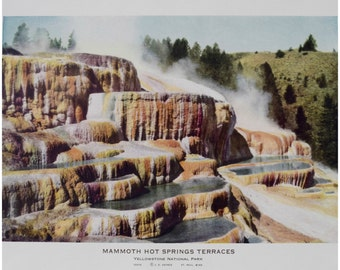 "Haynes Yellowstone Print/ 1920s-30s Vintage Lithograph/ 1887 Mammoth Hot Springs Photograph/ National Park Historic Print/ Unframed 13""x10"""