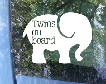 Twins on board Elephant Window Decal - Car Decal - New Baby - Baby Shower Gift - Baby on board Sticker - Elephant Decal - Animal Sticker