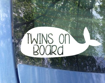 Twins on board Whale Decal | Car Decal | New Baby | Baby Shower Gift | Baby on board Sticker | Whale | Animal Sticker | Baby Gift | Nautical