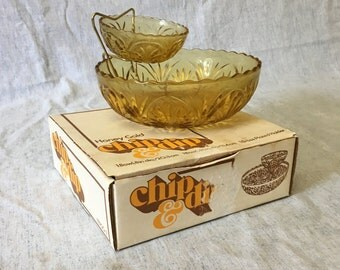 Vintage Anchor Hocking Honey Gold Medallion Amber Glass Chip and Dip
