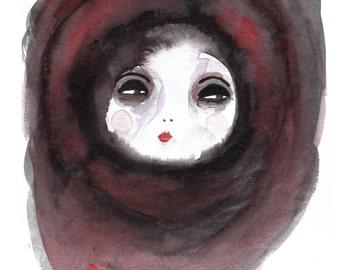 A5 La Luna Moon Art Print, Dark Art Illustration, Wall Art, Moon Illustration, Moon Painting, Outsider Art, Weird, Quirky