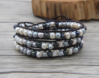 3 wraps bracelet waterFresh Pearl wrap bracelet Real pearl bracelet Leath bracelet YOGA Bead wrap bracelet Pearl Jewelry SL-0483