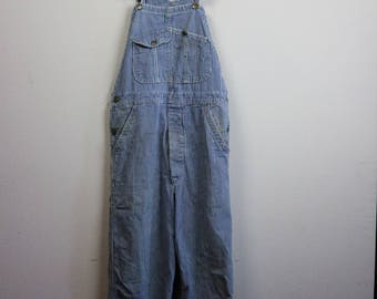 Vintage 1970s RAILROAD STRIPED Overalls Size Large