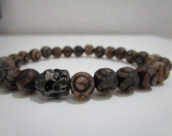 Agate dzi, male bracelet agate dzi, Yoga bracelet, silver black Buddha, gift for man, agate dzi Tibetan, Buddhist jewelry,Protection stone
