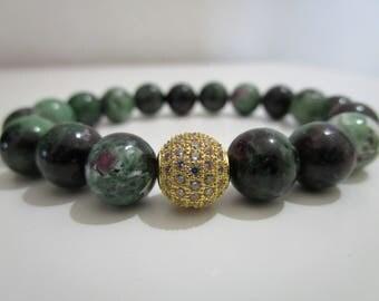 Ruby in zoisite, bracelet natural stones, bracelets, bracelet for women, gift for woman, beaded bracelet, bracelet Ruby in zoisite, Jewelry