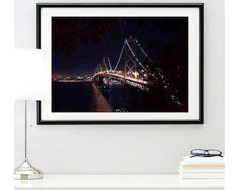 San Francisco Bay Bridge Side Photo Print #3 | bridge photo | cityscape picture | city skyline photo | california | wall art | 11 sizes