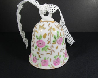 Vintage Porcelain Bell, Hand painted bell, Wedding bell, Floral bell, Collectible bells, Pink roses bell, Pink, white bell, Dinner bell