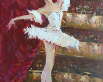 BALLERINA FIGURE Original Oil Painting by Ustyanskaya V., Signed, Dancer, Female Portrait, Genre Painting, Dancer Figure, Ballerina Portrait
