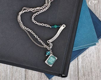 Jane Austen Silver and Blue Quote Necklace | Book Inspired Jewelry | Mixed Media Style